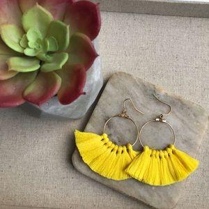 Tassel Fringe Earrings Yellow Bohemian Boho Spring